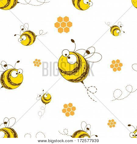 Bees seamless pattern. Vector illustration. Image of flying bees. The bees and honeycomb. Funny bees on a white background.