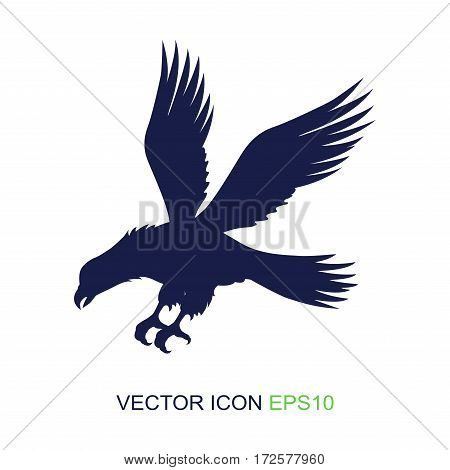 Silhouette of an eagle on a white background. Logo. Side view of an eagle. Vector illustration.