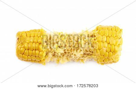Half eaten corncob isolated over the white background