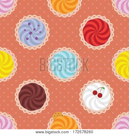 Cartoon background. Colorful cupcakes. Seamless vector pattern