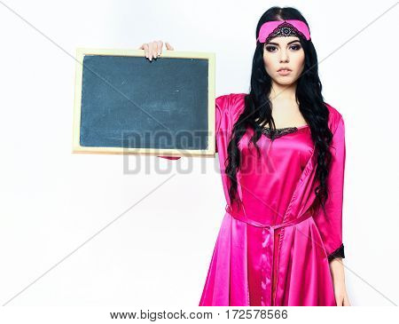 Sexy Girl In Silk Robe Holding Black Board
