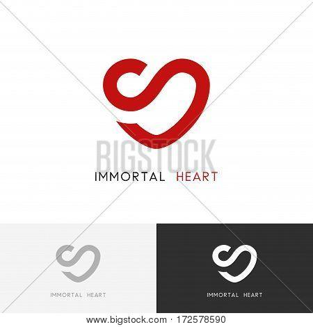 Immortal heart logo - health and infinity symbol. Love and medicine vector icon.