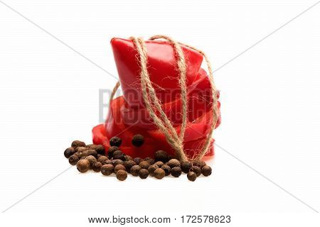 Fresh Vegetable, Allspice, Sweet Pepper, Cut Paprika Isolated On White