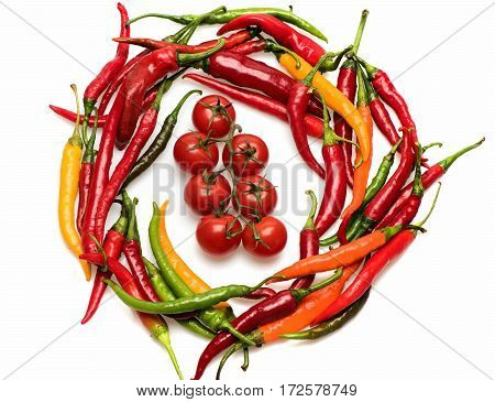 Colorful Fresh Vegetable, Cherry Tomato, Chilly Pepper Isolated On White