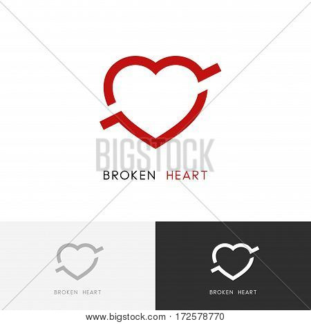 Broken heart logo -  arrow or bullet in the love symbol. Divorce or breakup vector icon.