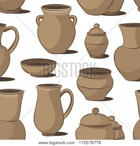 Rustic ceramic utensils pattern, colored vector images for design and illustration.