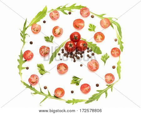 Fresh Vegetable, Allspice, Cherry Tomato And Arugula Isolated On White