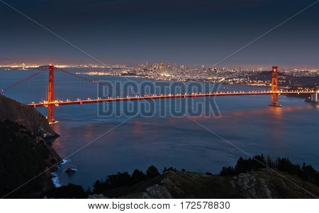 The Golden Gate Bridge with San Francisco in the background.