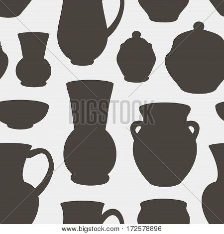 Rustic ceramic utensils pattern, vector images for design and illustration.