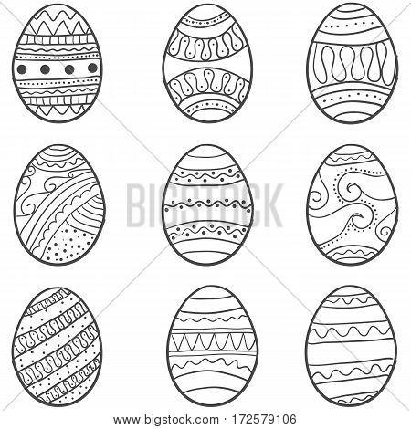 Hand draw of easter egg set vector art