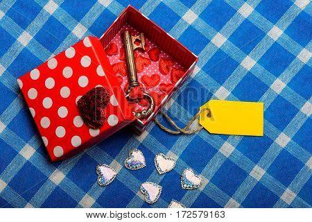 Beautiful Open Present Box With Valentine Symbol Of Love