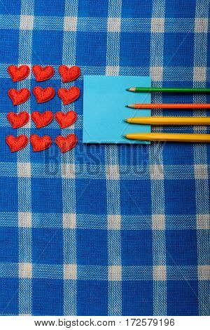 Set Of Valentines Love Symbol And Note Paper