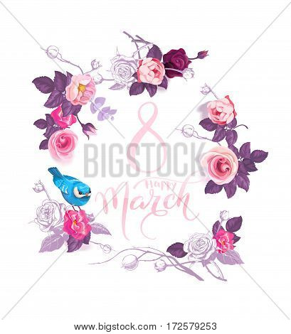 Happy 8 March. Pink hand lettering inside wreath of semi-colored flowers and blue bird sitting on rose on white background. Women's day party invitation. Vector illustration for postcard, banner