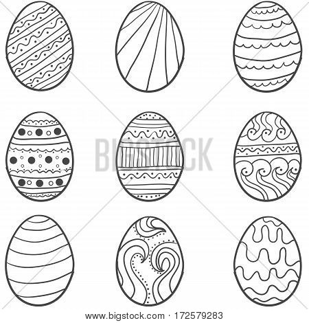 Set of easter egg illustration collection stock