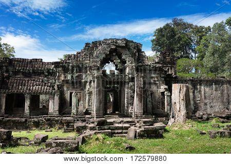 ruins ancient Preah Khan temple in Angkor