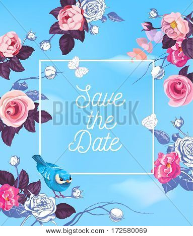 Lovely Save The Date template with semi-colored roses and little bird against blue background with white clouds. Vector illustration for greeting card, postcard, bridal party or wedding invitation