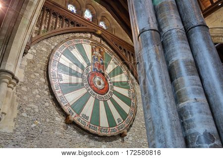 WINCHESTER, UK - FEBRUARY 5, 2017:  Detail of King Arthur's Round Table inside the Great Hall