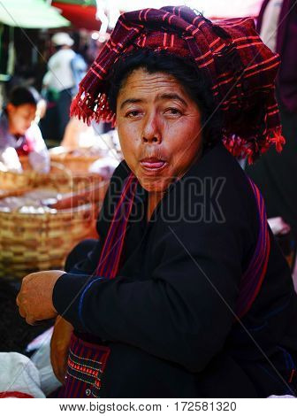 People At The Bogyoke Market In Yangon