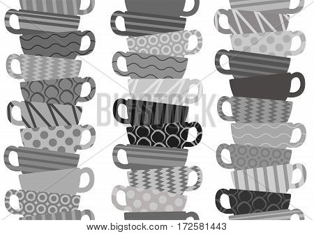 Seamless pattern with tea cups on white background