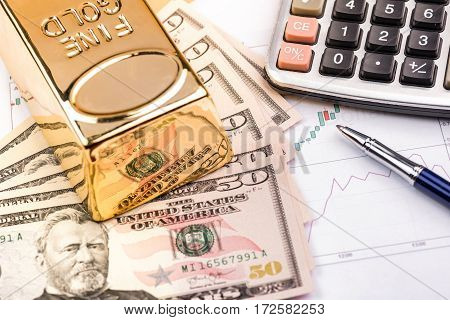 Fine gold bars and Dollars high quality and high resolution studio shoot