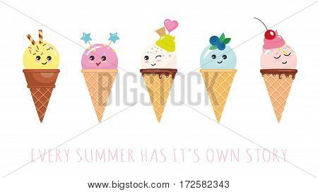 Kawaii ice cream cone characters. Cute cartoons isolated on white. Vector.