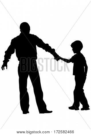 Father and son walk on white background