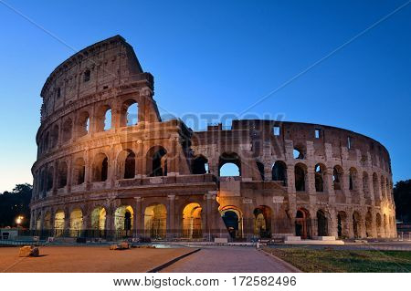 Colosseum at night in Rome Italy