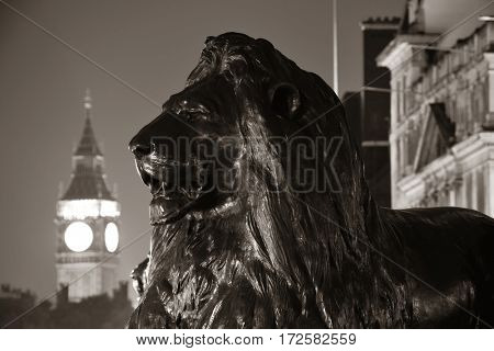 Trafalgar Square lion statue and Big Ben in London at night in BW