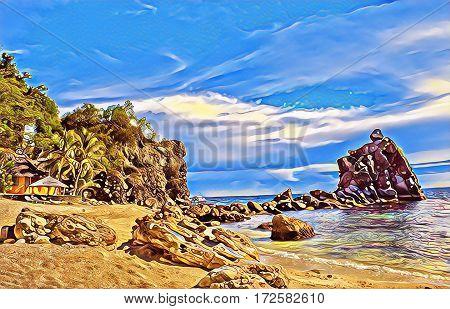 Tropical beach with stones and rocks. Sand beach view with cloudy sky. Nature of tropical island. Exotic seaside digital illustration. Still sea water and sunny beach. Relaxing vintage image