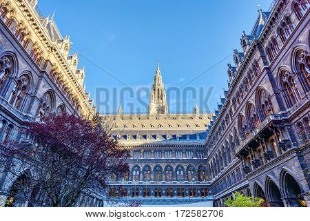 Rathaus, City Hall interior courtyard in Vienna, Austria, blue sky, sunny day