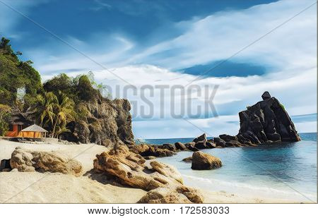 Tropical beach with stones and rocks. Sand beach view with cloudy sky. Nature of tropical island. Exotic seaside digital illustration. Still sea water and sunny beach. Relaxing paradise image