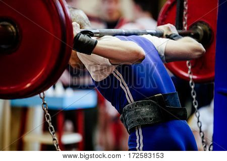 back male powerlifter squat barbell for competition powerlifting