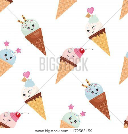 Kawaii ice cream cone seamless pattern background. Pastel colors. Isolated on white. Vector.