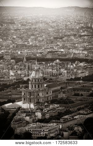 Paris city rooftop view with Napoleon's tomb in black and white.