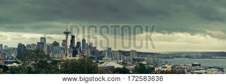 Space Needle and Seattle downtown skyline panorama from Kerry Park.
