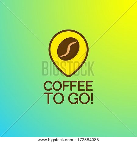 Coffee to go logo isolated on background. Vector design element