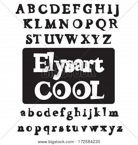 Elysart Cool font. Vector alphabet set. Cartoon abc