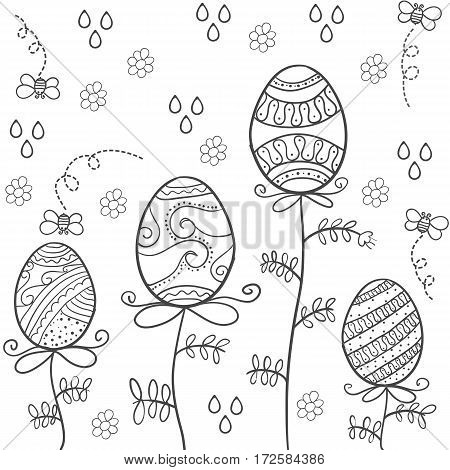 Doodle of easter egg with hand draw vector art