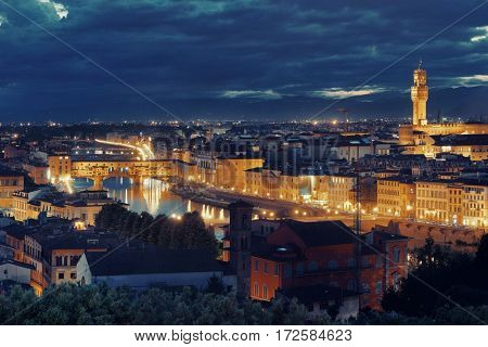 Florence skyline viewed from Piazzale Michelangelo at night