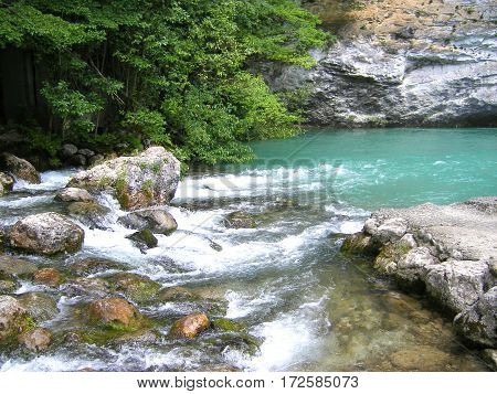 The Bystry mountain river with blue water