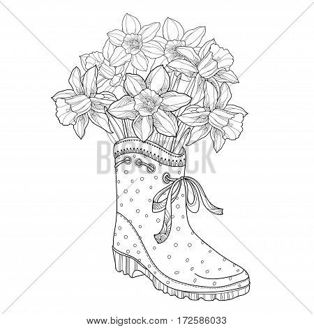 Vector bouquet with outline narcissus or daffodil flower in the rubber boot isolated on white background. Floral element in contour style with narcissus and gumboot for spring design or coloring book.
