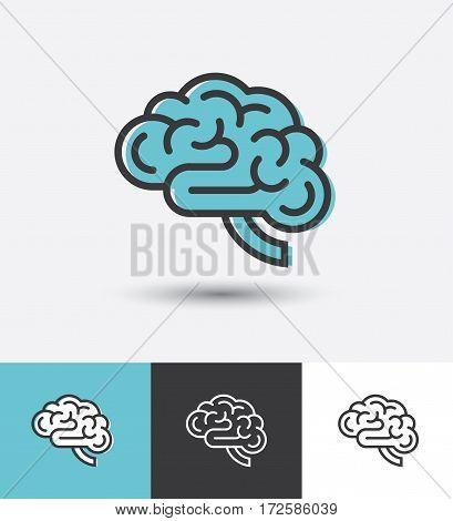 Linear brain icon in vector. Logo template