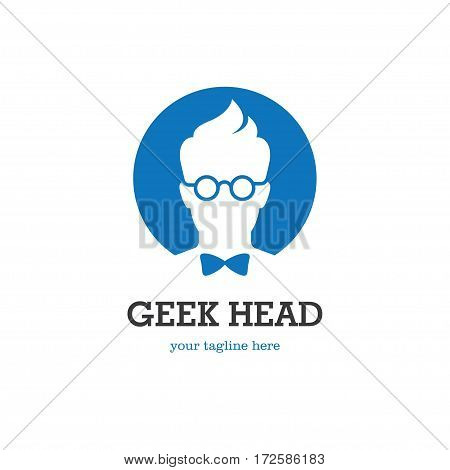 Round logo with geek head silhouette in glasses and bow tie