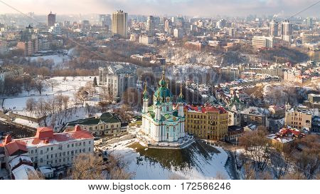 Aerial drone photo of iconic City of Kiev Tower bridge and river Thames.