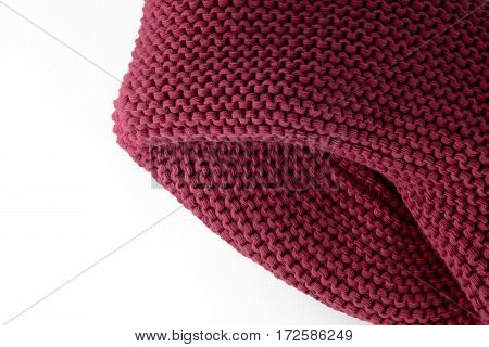 Knitted Maroon Scarf Isolated On A White Background Closeup