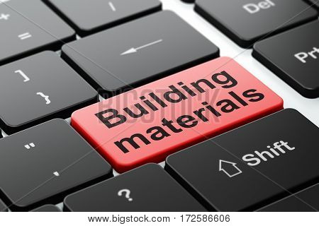 Construction concept: computer keyboard with word Building Materials, selected focus on enter button background, 3D rendering
