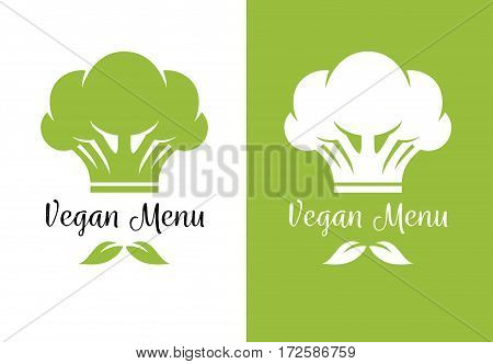 Broccoli icon looking like chef cook hat and green leaves like mustache. Vegan and vegetarian restaurant menu creative logo concept.