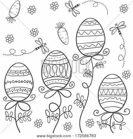 Hand draw easter style of doodles vector art