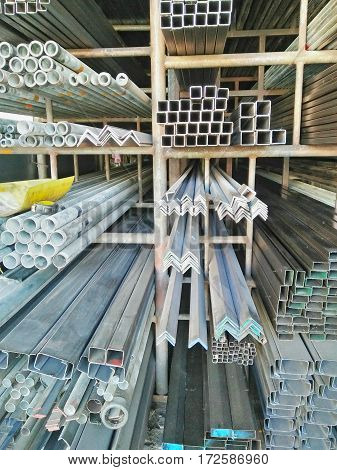 Many steel type in steel factory warehouse for,construction industries