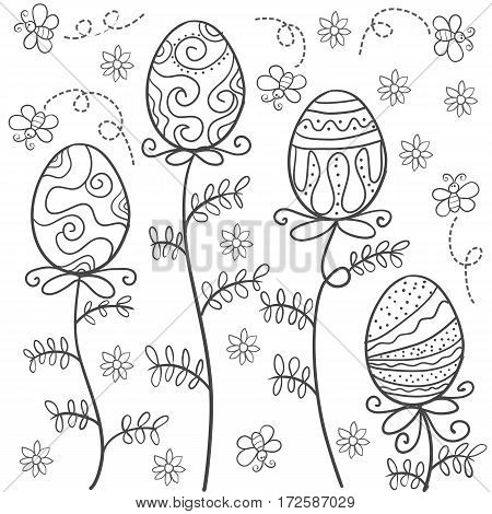 Doodle of easter style with egg hand draw